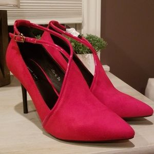 Red Faux Suede Heels